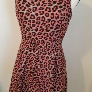 Pink Grey Cheetah Print A Line Dress
